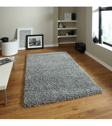 Lista Plain Grey Shaggy Rug