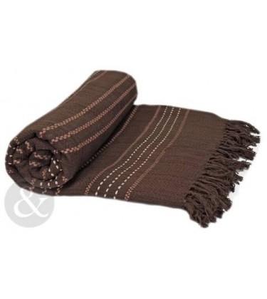 Stripe Woven Throw Chocolate