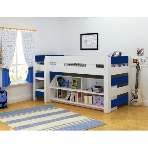 Boys Mid Sleeper Bed with Bookcase