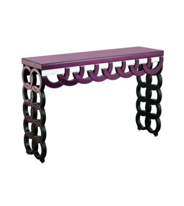 Purple Mirrored Glass Console Table