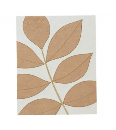Leaf Wall Art Cream Caramel Faux Suede Large