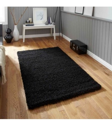 Lista Plain Black Shaggy Rug