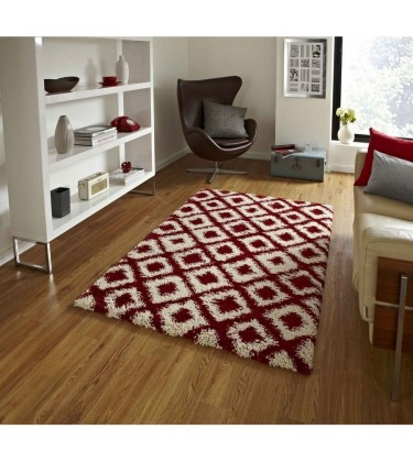 Madic Soft Shaggy Rug Red and Beige