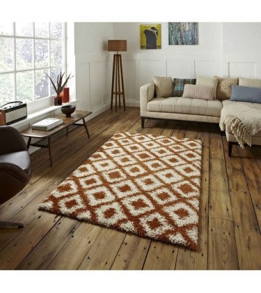 Madic Soft Shaggy Rug Orange and Beige
