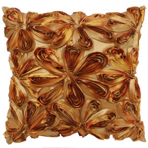 Large Silk Ribbon Cushion Terracotta and Gold