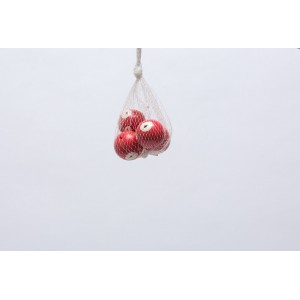 Set of 4 White and Red Poppy Balls 4cm