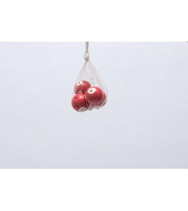 Set of 4 White and Red Poppy Balls 4cm