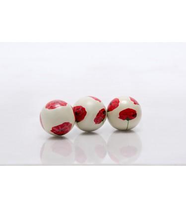 Set of 3 Ruby Ceramic Balls