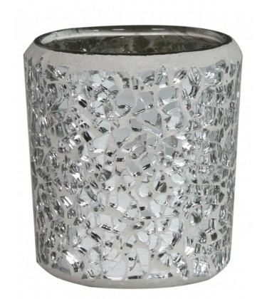 Silver Mosaic Tea Light Holder