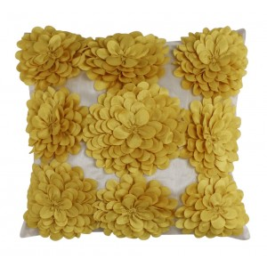 Ivory and Yellow 3D Flowered Cushion