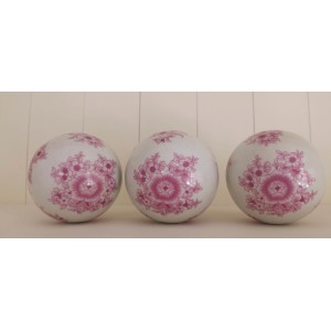 Porcelain Ball Pink and White Set of 3