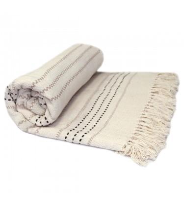 Stripe Woven Throw Cream