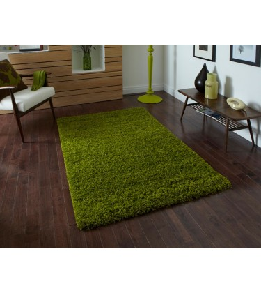 Lista Plain Green Shaggy Rug